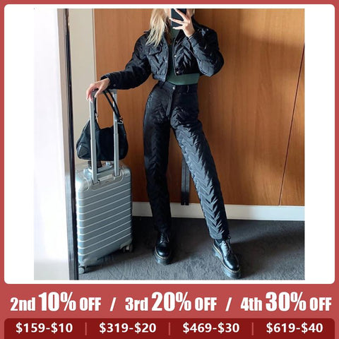 Women's Wavy Lace Short Slim Warm Jacket High Waist Casual Pants Set
