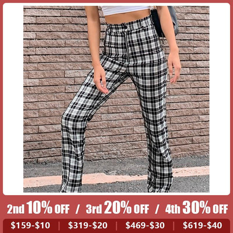 Urban Leisure High Waist Check Trousers