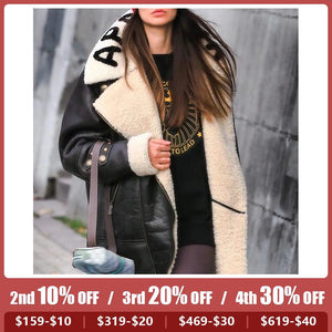 Ladies Solid Color Lapel Plush Coat
