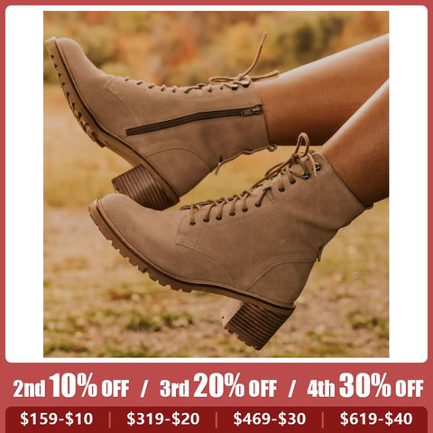 Fashionable Thick Heeled Low Martin Boots