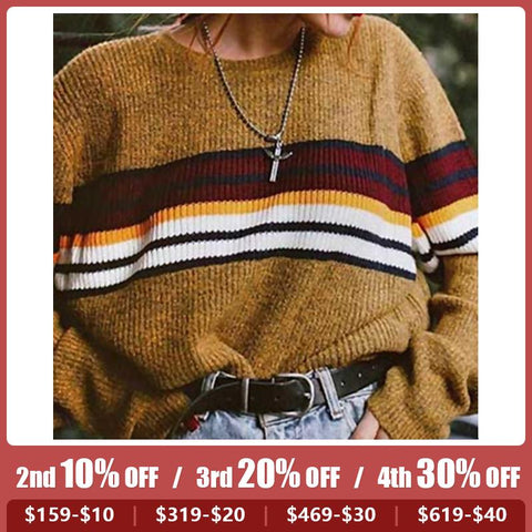 Women's Stitching Color Rainbow Sweater