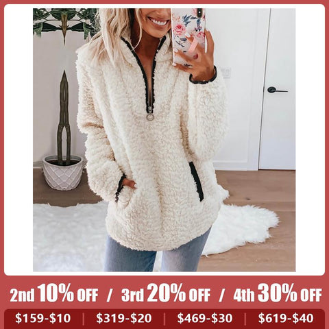 Women's zipper teddy plush coat