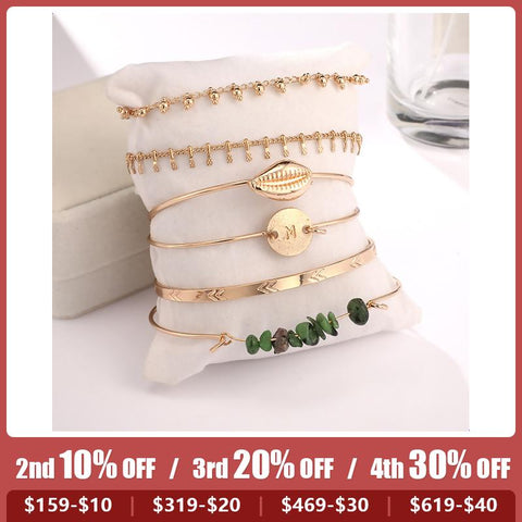 Popular Alloy Round Shells And Shells 6 Sets Of Bracelets