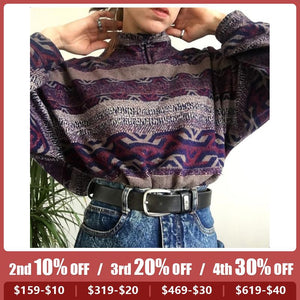Women's Fashion Pattern Printed Long-sleeved Sweater