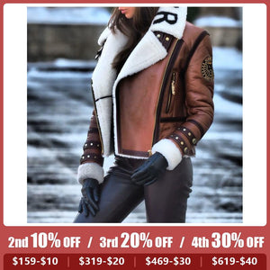 Women's Fashion Lapel Long Sleeve Short Jacket