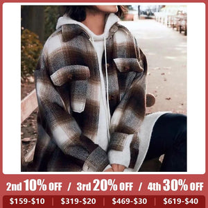 Vintage Loose Plaid Long Sleeve Woolen Shirt Coat
