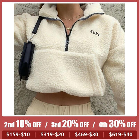 Fashion vertical collar long sleeved lamb coat Teddy