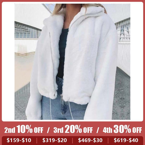 Fashion Solid Color Imitation Faux Fur Zipper Teddy Jacket