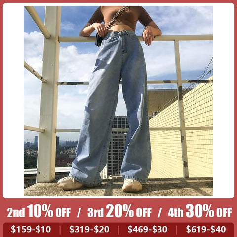 Women's high waist wide leg casual jeans