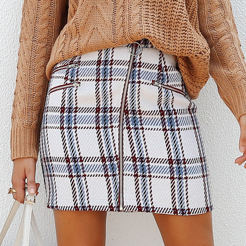 Tweed Woolen Plaid Pattern Skirt BJ-08
