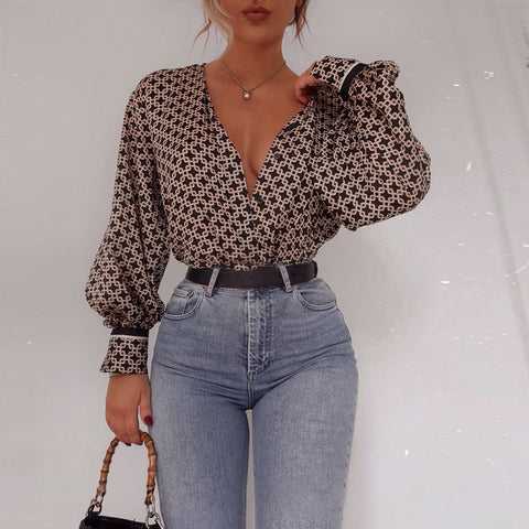 Sexy Printed Color Single-breasted Long Sleeve Blouse