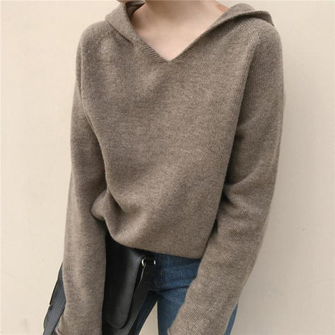 Loose Casual Pure Color Knit Sweater