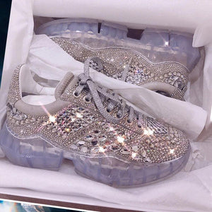 Rhinestone crystal platform sneakers shoes
