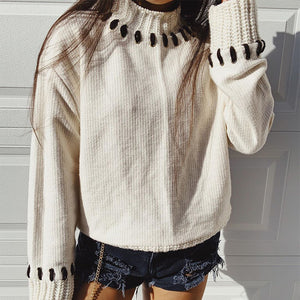 Women's loose handmade open line half-high collar sweater