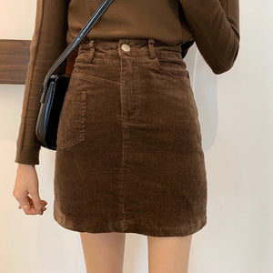 Corduroy high waist a-line skirt
