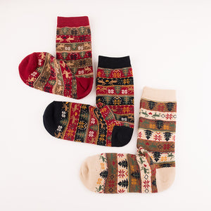 Women's Vintage Elk Snowflake Printed Cotton Socks
