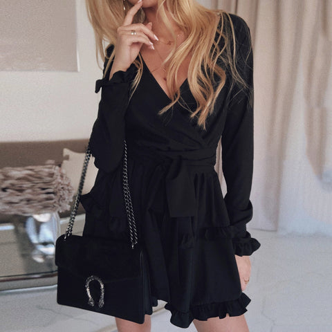 Fashion Solid Color V-Neck Long Sleeve Ruffle Dress