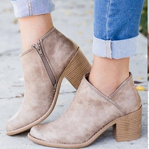 Women's Fashion Casual Solid Color Thick Ankle Boots