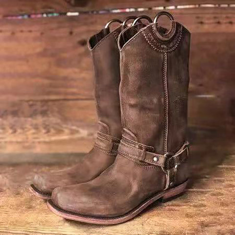 Women's Fashion Trend Solid Color Buckle Round Head Boots