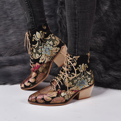 Vintage Embroidery Lace-Up Kitten Heels Martin Boots