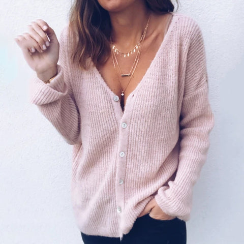 Casual Single-breasted Solid Color Women Sweater