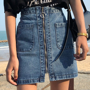 Women's fashion stitching zipper denim skirt