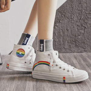 Women Fashion Rainbow Round Toe Sneakers
