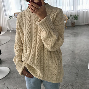 Fashion Round Neck Pure Color Sweater