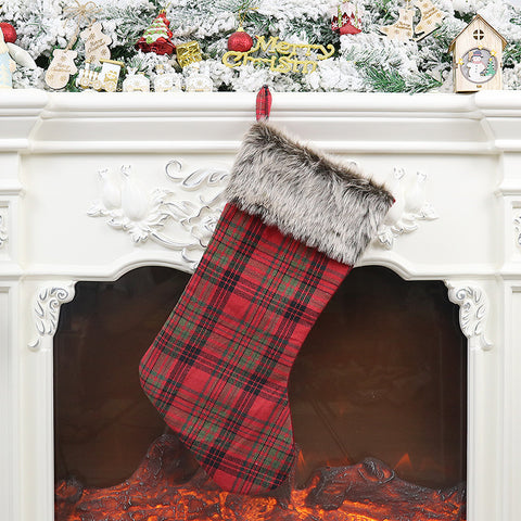 Christmas Plaid Plush Pendant Socks Gift Bag