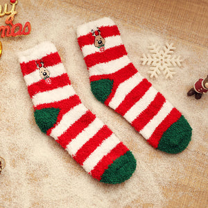 Women's Christmas color matching thick coral fleece home socks