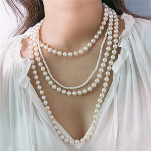 Simple personality multilayer pearl necklace