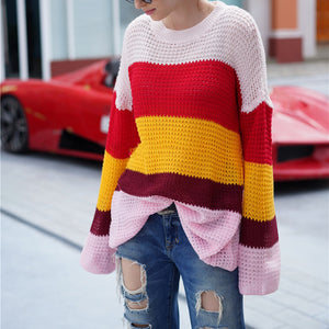 Striped Color Matching Loose Rainbow Sweater