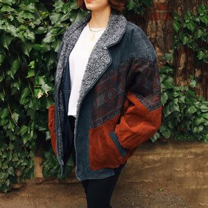 Fashion Contrast Color Pattern Warm Woolen Coat