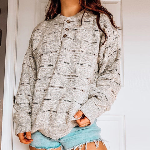 Women's Fashion Casual Round Neck Button Sweater