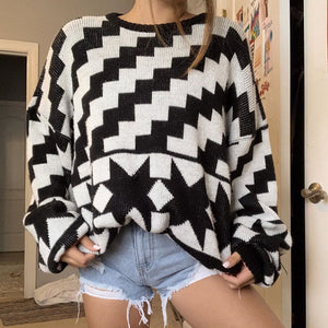 Fashion round neck geometric pattern Batman women's sweater
