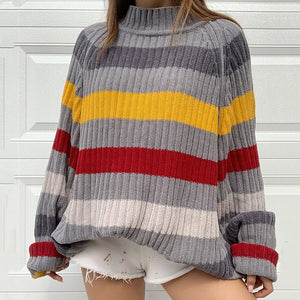 Fashion high collar striped loose bat sleeve female sweater