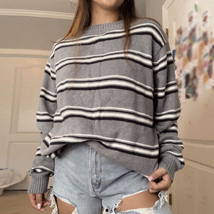 Women Casual Striped Round Neck Long Sleeve Sweater