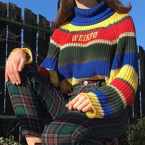 Women's Rainbow Striped Letter Embroidered Turtleneck Sweater