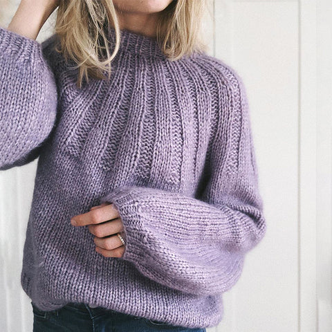 Cute Loose Round Neck Bishop Sleeve Sweater