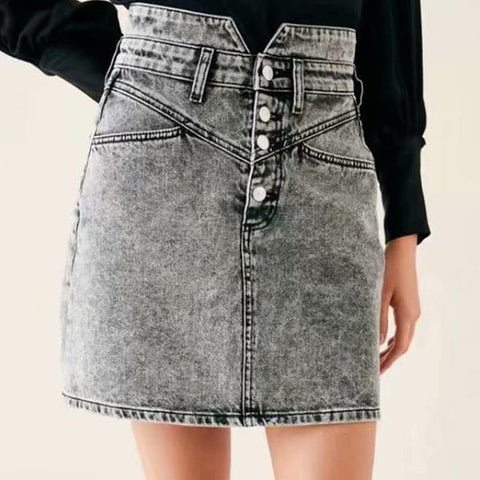 Women's Vintage Black Denim Skirt