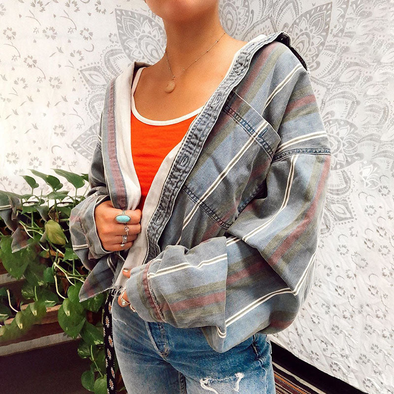 Fashion Single-breasted Long Sleeve Striped Demin Jacket