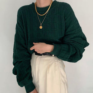 Casual daily dark green long puff sleeves round neck sweater DWQ08