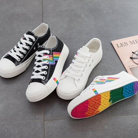 Casual Students Rainbow Flat Canva Shoes
