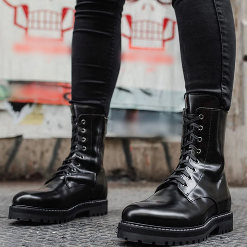 Fashion casual ladies lace-up pure color ankle boots