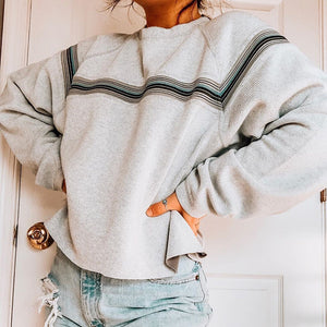 Women's Fashion Casual Round Neck Striped Loose Sweater