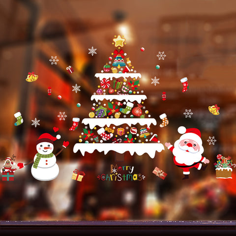 Christmas decoration snowman Christmas tree window sticker wall sticker