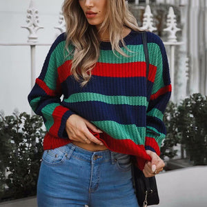 Casual Round Neck Loose Rainbow Sweater