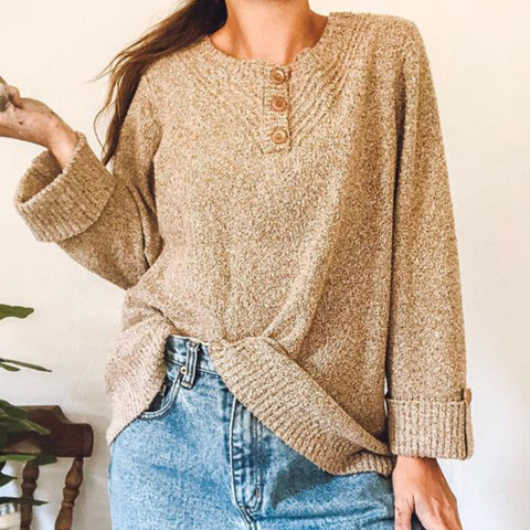 Ladies Fashion Button Pullover Solid Loose Knit Sweater