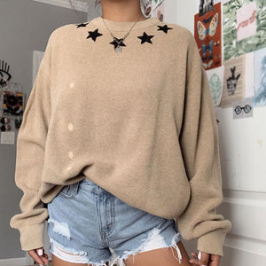 Khaki round neck five-pointed star women's knit top