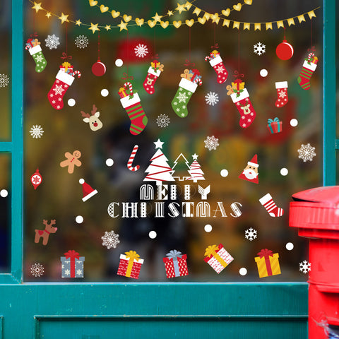 Christmas scene layout Christmas stocking window sticker